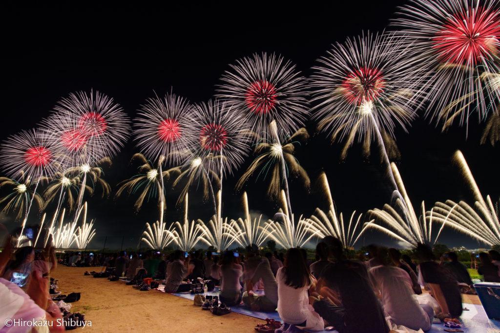 長岡花火をフェニックス席から超広角レンズで撮影したフェニックス花火①(レンズ:HD PENTAX-D FA 15-30mmF2.8ED SDM WR)