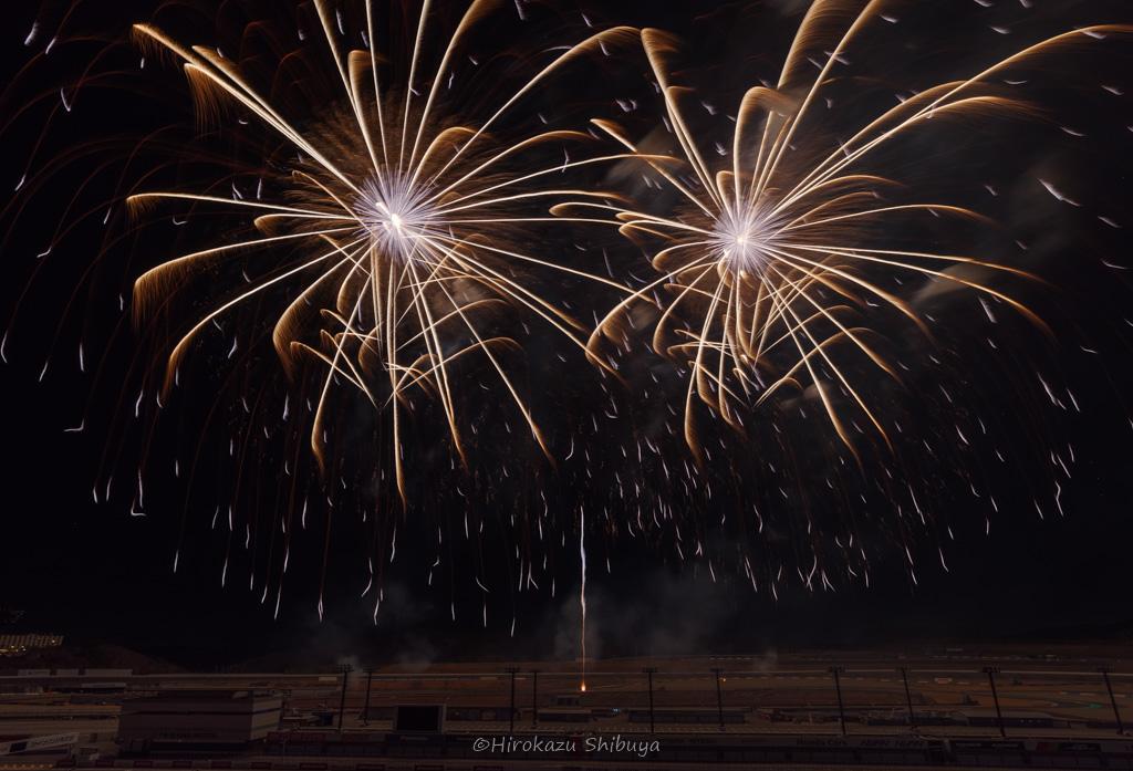 """モノクロームの金華(ツインリンクもてぎ花火の祭典""""New Year Fes"""")"""